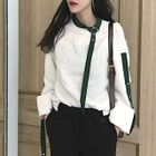 Color-Block Bell-Sleeve Tie Loose-Fit Chiffon Top 1596