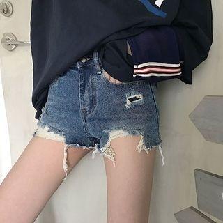 Distressed Washed Denim Shorts 1058019388