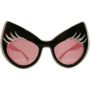 Glam-it! - Super Cat Oversize Sunglasses with Silver Lashes (Black Frame White Edging) (Limited Edition) 1 pc