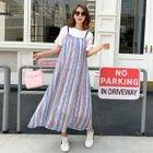 Maternity Set: Elbow-Sleeve T-Shirt + Striped Strappy Midi Dress 1596