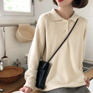 Plain Long-Sleeve Polo Knit Top 1068886095