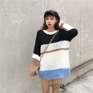 Colour Block Sweater Black & White - One Size 1068518318