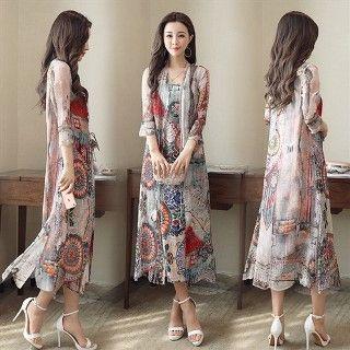 Set: Sleeveless Silk Printed Midi Dress + Long Top 1060063500