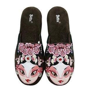 Ladies Chinese Opera Mask Slippers