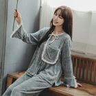 Pajama Set: Frilled Trim Long-Sleeve Top + Pants 1596