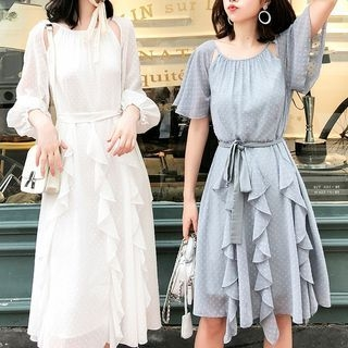 Long-Sleeve Tie-Waist Dress / Short-Sleeve Tie-Waist Dress 1067986094