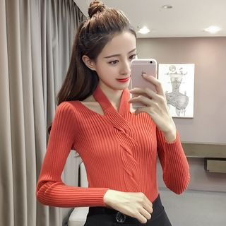 Ribbed Long-Sleeve Knit Top 1064725727