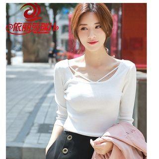 Plain Elbow-Sleeve Knit Top / Plain Long-Sleeve Knit Top 1062608423