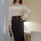 Set: Off-Shoulder Ruffled Top + Skirt 1596