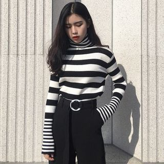 Knit Turtleneck Sweater Stripes - Black & White - One Size 1068425286