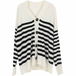 Striped Cardigan Stripe - Black & White - One Size 1069278033