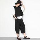 Set: 3/4 Sleeve T-Shirt + Sleeveless Vest + Cropped Wide- Leg Pants 1596