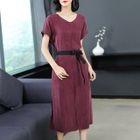 Short-Sleeve V-Neck Midi A-line Dress 1596