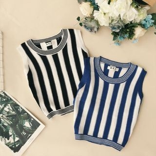 Sleeveless Striped Knit Top 1068117771