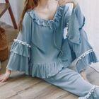 Pajama Set: Frill Trim Long Sleeve Top + Pants 1596