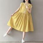 Cap-Sleeve Dotted Dress 1596