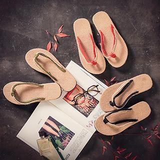Couple Braided Strap Flip-Flops
