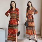 Long-Sleeve Tribal Pattern Midi A-Line Dress 1596