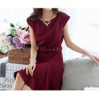 Cap-Sleeve Tie-Waist A-Line Dress 1596