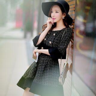 Wool Blend Paneled Tweed A-Line Skirt