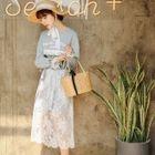 Set: Printed Long Sleeve T-Shirt Dress + Lace Midi Skirt 1596