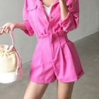 Set: Pink Cargo Shirt + Paper-Bag Waist Shorts 1596