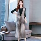 Set: Plain Long-Sleeve T-Shirt + Striped Double-Breasted Vest + Cropped Wide-Leg Pants 1596