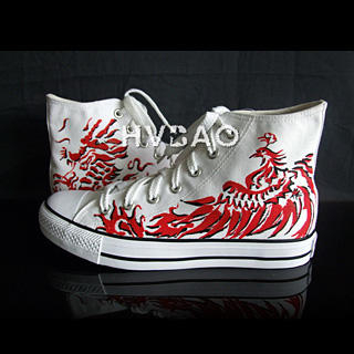 """Dragon and Phoenix"""" High-Top Canvas Sneakers"""