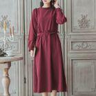 Ruffle Tie-Waist Midi A-Line Dress 1596