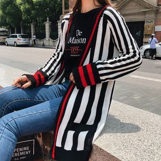 Striped Cardigan Black & White - One Size 1068368366