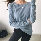 Round-Neck Embroidered-Sleeve T-Shirt 1596