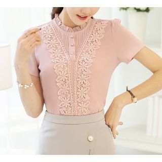Chata Lace Panel Short-Sleeve Chiffon Blouse