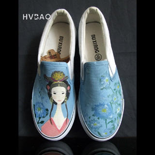 """Ancient Beauty"""" Canvas Slip-Ons"""