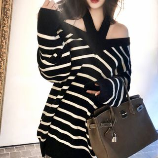 Striped Halter Cut-Out Long Sweater Black & White - One Size 1068601570