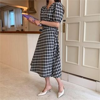 Ontheriver Puff-Sleeve Wrap-Front Checked Dress Black – One Size, Find Latest Fashion
