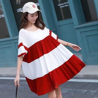 Short-Sleeve Colored Panel Babydoll Dress