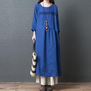 Long-Sleeve A-Line Midi Dress 1069225492