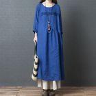 Long-Sleeve A-Line Midi Dress 1596