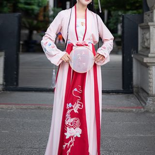 Traditional Chinese Set: Long-Sleeve Top + Maxi Skirt + Sash