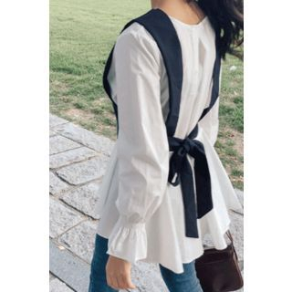 Set: Tie-Back Vest + Peplum Blouse Black & White - One Size 1069143433
