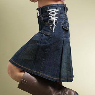 Box-Pleat Denim Skirt