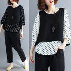 Set: Polka Dot 3/4-Sleeve Top + Vest 1596