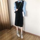 Plain Long-Sleeve Shirt / Sleeveless Tie-Waist Dress 1596
