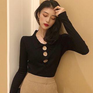 Long-Sleeve Polo Knit Top 1069318550