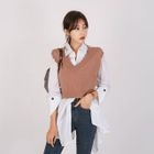 Set: Ripped Knit Vest + Long Hanky Shirt 1596