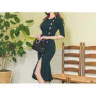 Button-Front Slit-Dress Dress Gray - One Size 1596