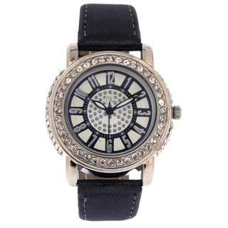 Crystal Wrist Watch Black & Silver - One Size 1035160400