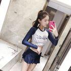 Set: Lettering Long-Sleeve Swim Top + Swim Skirt 1596