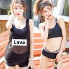 Set: Mesh Tank Top + Lettering Bikini / Set: Mesh Tank Top + Bikini Top + Swim Shorts 1596