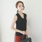 Button-Front Sleeveless Knit Top 1596